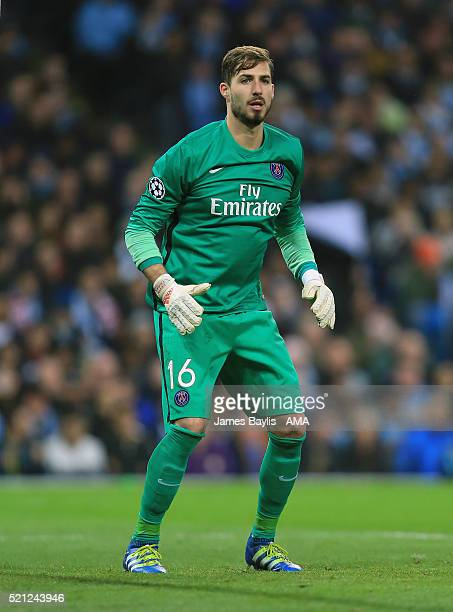Kevin Trapp of Paris St Germain during the UEFA Champions League Quarter Final second leg match between Manchester City FC and Paris SaintGermain at...