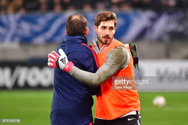 Kevin Trapp of PSG and PSG goalkeeping coach Javi Garcia before the French Cup match between Sochaux and Paris Saint Germain at Stade Auguste Bonal...