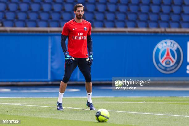 Kevin Trapp of PSG during the training session of Paris Saint Germain at Parc des Princes on May 16 2018 in Paris France