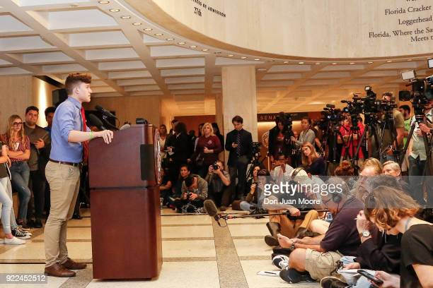 Kevin Trejos a student from Marjory Stoneman Douglas High School speaks at the Florida State Capitol building on February 21 2018 in Tallahassee...