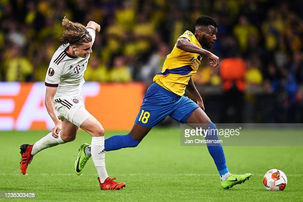 Kevin Tshiembe of Brondby IF compete for the ball during the UEFA Europa League match between Brondby IF and AC Sparta Praha at Brondby Stadion on...