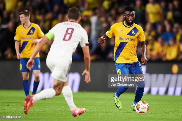 Kevin Tshiembe of Brondby IF in action during the UEFA Europa League match between Brondby IF and AC Sparta Praha at Brondby Stadion on September 16,...