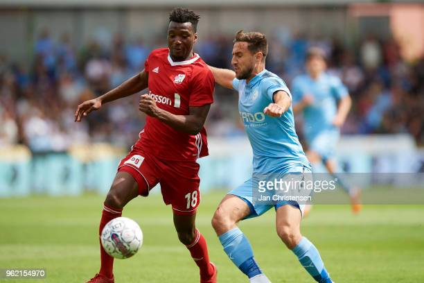 Kevin Tshiembe of Lyngby BK and Bashkim Kadrii of Randers FC compete for the ball during the Danish Alka Superliga match between Randers FC and...