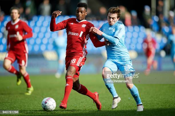 Kevin Tshiembe of Lyngby BK and Saba Lobzhanidze of Randers FC compete for the ball during the Danish Alka Superliga match between Randers FC and...