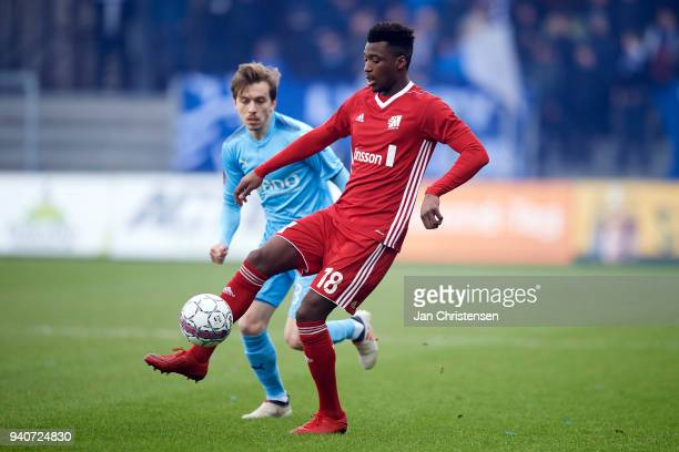 Kevin Tshiembe of Lyngby BK in action during the Danish Alka Superliga match between Randers FC and Lyngby BK at BioNutria Park Randers on April 01...