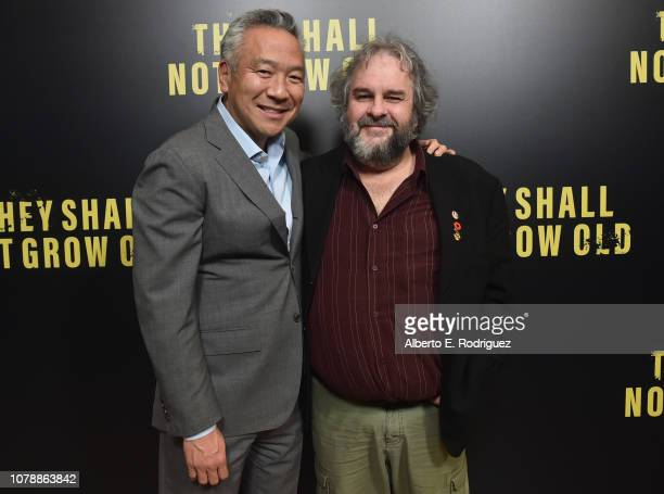 Kevin Tsujihara and Peter Jackson attend the Warner Bros premiere of They Shall Not Grow Old at Linwood Dunn Theater at the Pickford Center for...