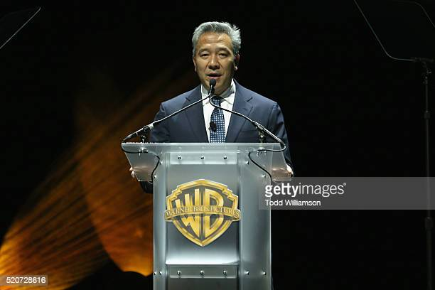 "Kevin Tsujihara CEO Warner Bros Entertainment Inc speaks onstage during CinemaCon 2016 Warner Bros Pictures Invites You to ""The Big Picture"" an..."