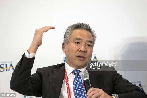 Kevin Tsujihara chairman and chief executive officer of Warner Bros Entertainment Inc speaks during the Boao Forum for Asia Annual Conference 2017 in...