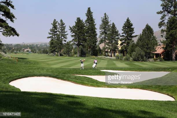 Kevin Tway chips onto the second green during the second round of the Barracuda Championship at Montreux Country Club on August 3 2018 in Reno Nevada