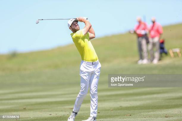 Kevin Tway hits an approach during the 4th round of the Valero Texas Open at the TPC San Antonio Oaks Course in San Antonio TX on April 23 2017