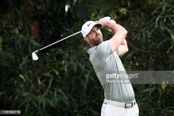 Kevin Tway of the United States hits his tee shot on the 7th hole during the first round of the CJ Cup @Nine Bridges at the Club at Nine Bridges on...