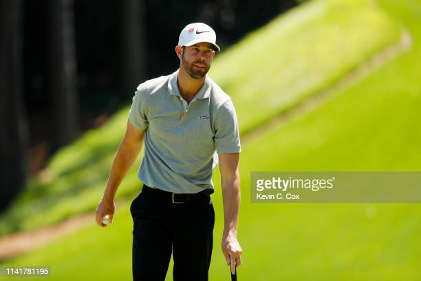 Kevin Tway of the United States looks on during the Par 3 Contest prior to the Masters at Augusta National Golf Club on April 10 2019 in Augusta...