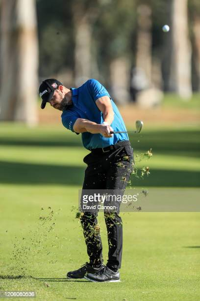 Kevin Tway of the United States plays his second shot on the par 4 13th hole during the first round of the Genesis Invitational at the Riviera...