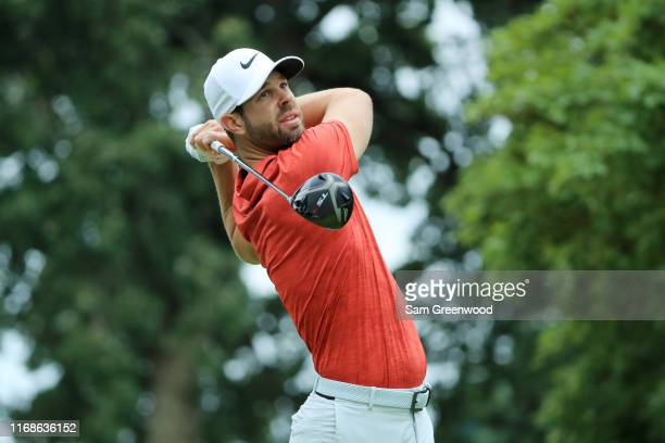 Kevin Tway of the United States plays his shot from the fourth tee during the third round of the BMW Championship at Medinah Country Club No 3 on...