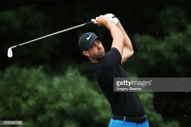 Kevin Tway of the United States plays his shot from the second tee during the third round of The Northern Trust on August 25 2018 at the Ridgewood...