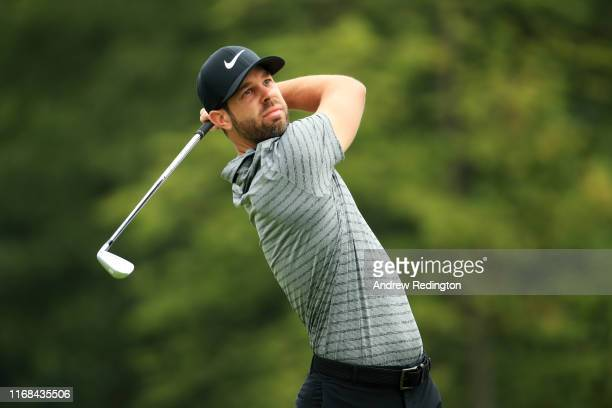 Kevin Tway of the United States plays his shot from the second tee during the second round of the BMW Championship at Medinah Country Club No 3 on...
