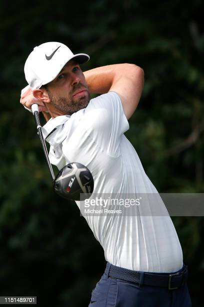 Kevin Tway of the United States plays his shot from the sixth tee during the second round of the Charles Schwab Challenge at Colonial Country Club on...