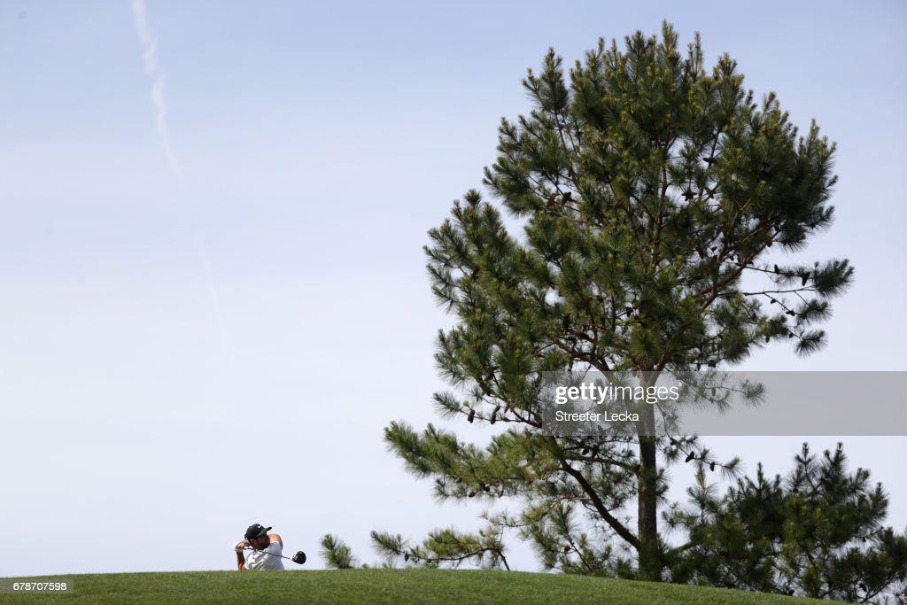 Kevin Tway plays a shot on the 18th hole during round one of the Wells Fargo Championship at Eagle Point Golf Club on May 4, 2017 in Wilmington, North Carolina.