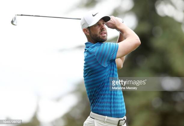 Kevin Tway plays his shot from the 12th tee during round one of the Safeway Open at the North Course of the Silverado Resort and Spa on October 4...