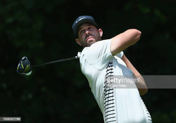 Kevin Tway plays his shot from the 16th tee during the second round at the RBC Canadian Open at Glen Abbey Golf Club on July 27 2018 in Oakville...