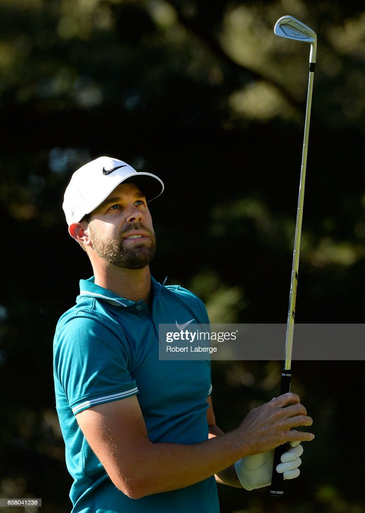 Kevin Tway plays his shot from the seventh tee during the first round of the Safeway Open at the North Course of the Silverado Resort and Spa on October 5, 2017 in Napa, California.