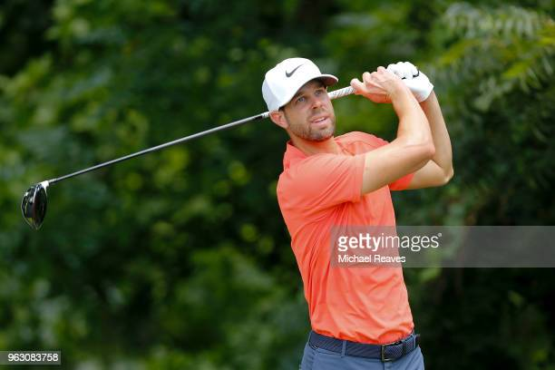 Kevin Tway plays his shot from the sixth tee during the final round of the Fort Worth Invitational at Colonial Country Club on May 27 2018 in Fort...