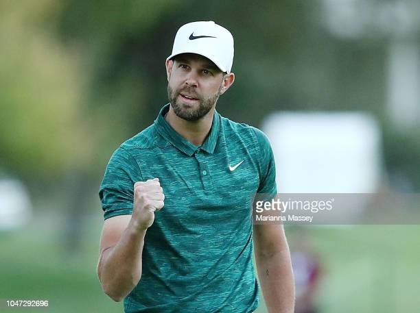Kevin Tway putts in to win on a third hole sudden death playoff against Ryan Moore on the 10th green during the final round of the Safeway Open at...