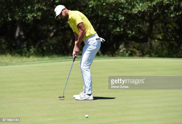 Kevin Tway putts on the sixth hole during the final round of the Valero Texas Open at TPC San Antonio ATT Oaks Course on April 23 2017 in San Antonio...