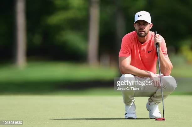 Kevin Tway reads the ninth green during the second round of the Wyndham Championship at Sedgefield Country Club on August 17 2018 in Greensboro North...