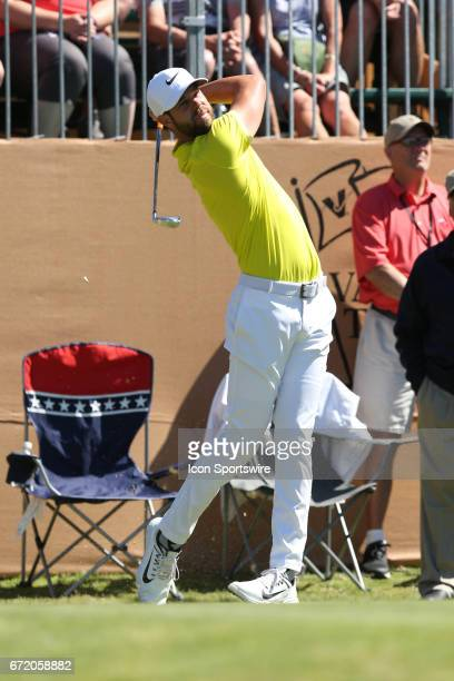 Kevin Tway tees off during the 4th round of the Valero Texas Open at the TPC San Antonio Oaks Course in San Antonio TX on April 23 2017