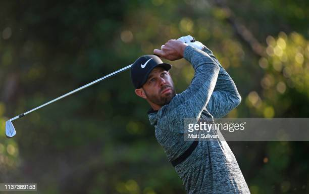 Kevin Tway watches his tee shot on the fourth hole during the first round of the Valspar Championship on the Copperhead course at Innisbrook Golf...