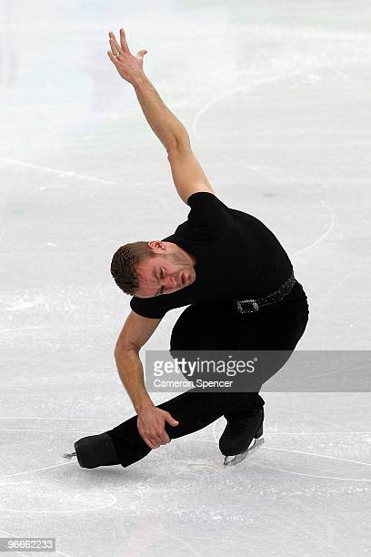 Kevin van der Perren of Belgium practices during figure skating training on day 2 of the Vancouver 2010 Winter Olympics at Pacific Coliseum on...