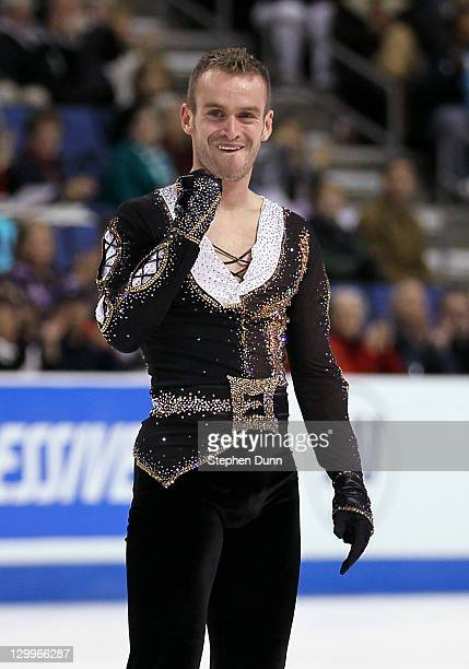 Kevin Van Der Perren of Belgium reacts after his performance in the Men's Free Skating during Hilton HHonors Skate America at Citizens Business Bank...