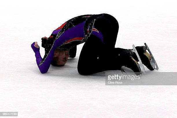 Kevin van der Perren of Belgium reacts after the Men's Free Skate during the 2010 ISU World Figure Skating Championships on March 25 2010 at the...