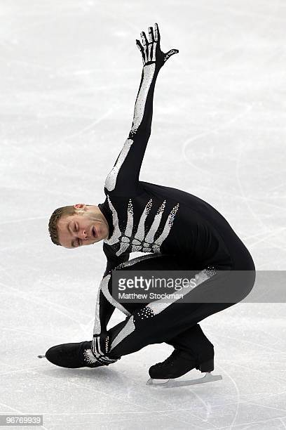 Kevin van der Perren of Belgium reacts in the men's figure skating short program on day 5 of the Vancouver 2010 Winter Olympics at the Pacific...