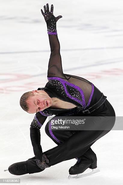 Kevin van der Perren of Belgium skates in the Men's Short Program during day four of the 2011 World Figure Skating Championships at Megasport Ice...