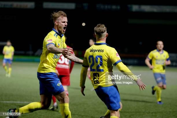 Kevin van Kippersluis of SC Cambuur Andrejs Ciganiks of SC Cambuur celebrates goal during the Dutch Keuken Kampioen Divisie match between SC Cambuur...