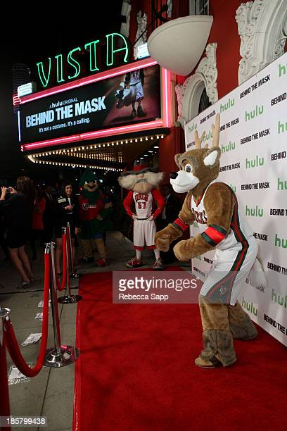 Kevin Vanderkolk as NBA's Milwaukee Bucks' Bango at Hulu Presents The LA Premiere Of 'Behind the Mask' at the Vista Theatre on October 24 2013 in Los...