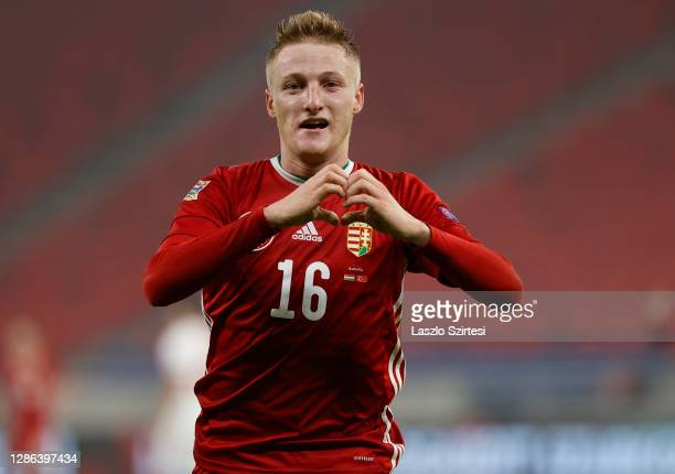 Kevin Varga of Hungary celebrates after scoring their team's second goal during the UEFA Nations League group stage match between Hungary and Turkey...