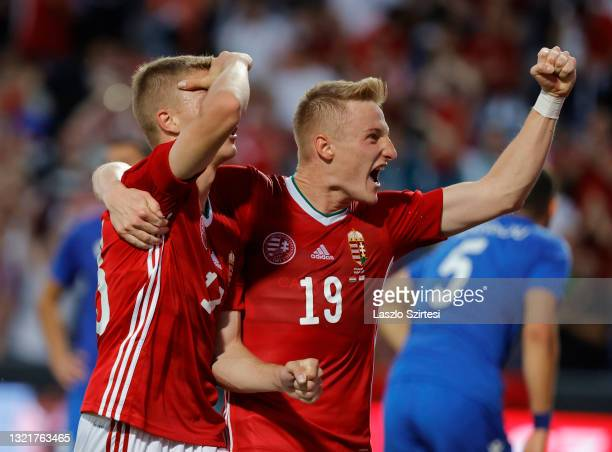 Kevin Varga of Hungary celebrates with goal scorer Andras Schafer of Hungary during the International Friendly match between Hungary and Cyprus at...