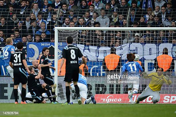 Kevin Vogt of Bochum scores his team's second goal during the Second Bundesliga match between VfL Bochum and 1860 Muenchen at Rewirpower Stadium on...