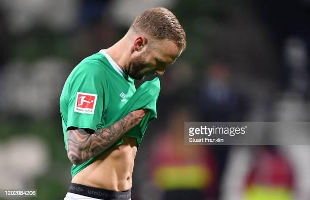 Kevin Vogt of Bremen reacts the Bundesliga match between SV Werder Bremen and TSG 1899 Hoffenheim at Wohninvest Weserstadion on January 26, 2020 in...