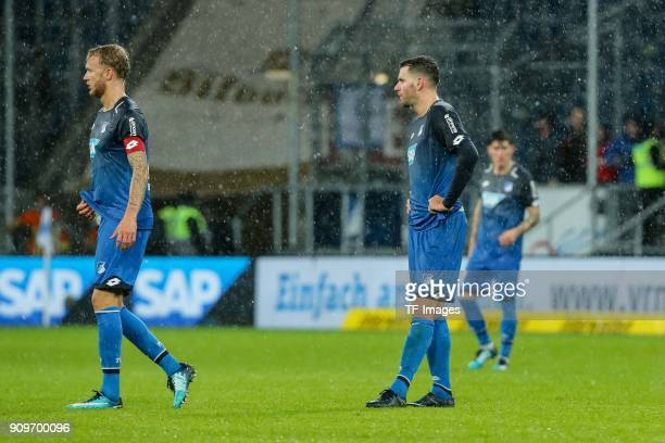 Kevin Vogt of Hoffenheim and Adam Szalai of Hoffenheim look dejected during the Bundesliga match between TSG 1899 Hoffenheim and Bayer 04 Leverkusen...