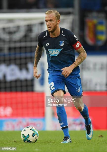 Kevin Vogt of Hoffenheim controls the ball during the Bundesliga match between TSG 1899 Hoffenheim and Eintracht Frankfurt at Wirsol RheinNeckarArena...