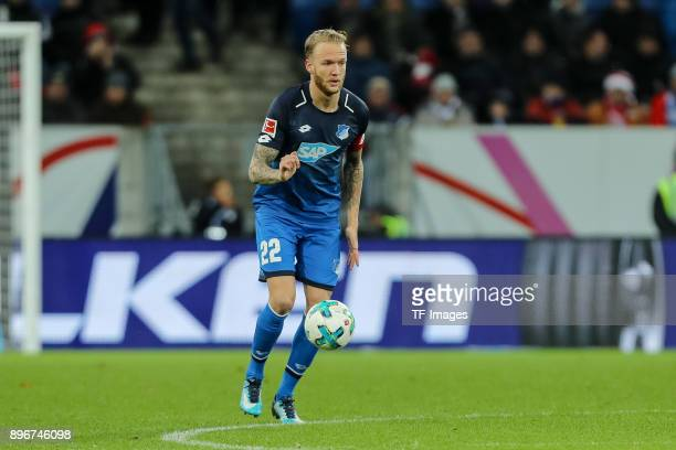 Kevin Vogt of Hoffenheim controls the ball during the Bundesliga match between TSG 1899 Hoffenheim and VfB Stuttgart at Wirsol RheinNeckarArena on...