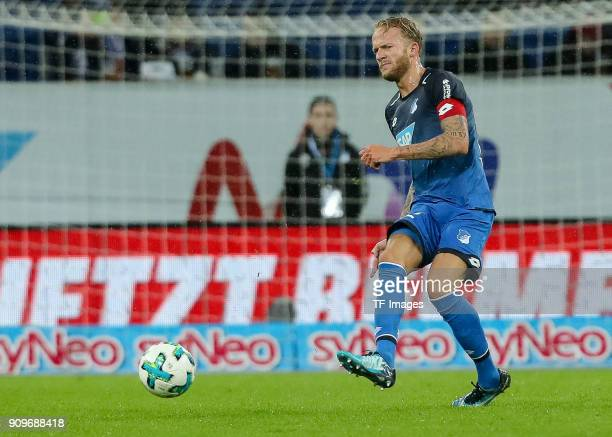 Kevin Vogt of Hoffenheim controls the ball during the Bundesliga match between TSG 1899 Hoffenheim and Bayer 04 Leverkusen at RheinNeckarArena on...