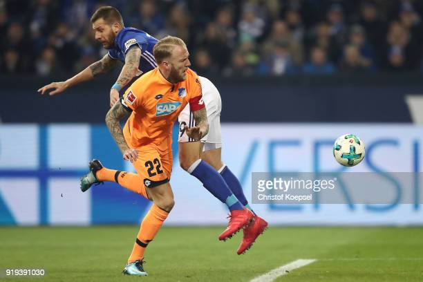 Kevin Vogt of Hoffenheim fights for the ball with Leon Goretzka of Schalke during the Bundesliga match between FC Schalke 04 and TSG 1899 Hoffenheim...
