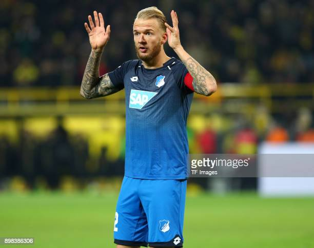 Kevin Vogt of Hoffenheim gestures during the Bundesliga match between Borussia Dortmund and TSG 1899 Hoffenheim at Signal Iduna Park on December 16...