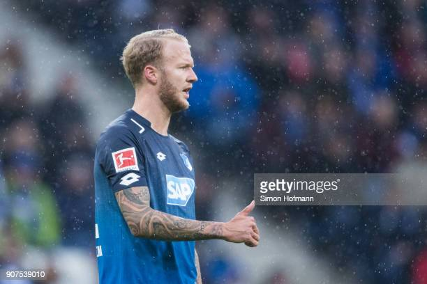 Kevin Vogt of Hoffenheim gestures during the Bundesliga match between TSG 1899 Hoffenheim and Bayer 04 Leverkusen at Wirsol RheinNeckarArena on...