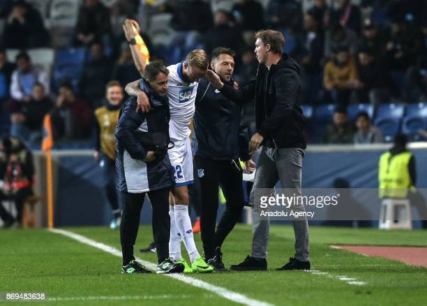 Kevin Vogt of Hoffenheim is seen after an injury during the UEFA Europa League Group C soccer match between Medipol Basaksehir and Hoffenheim at...